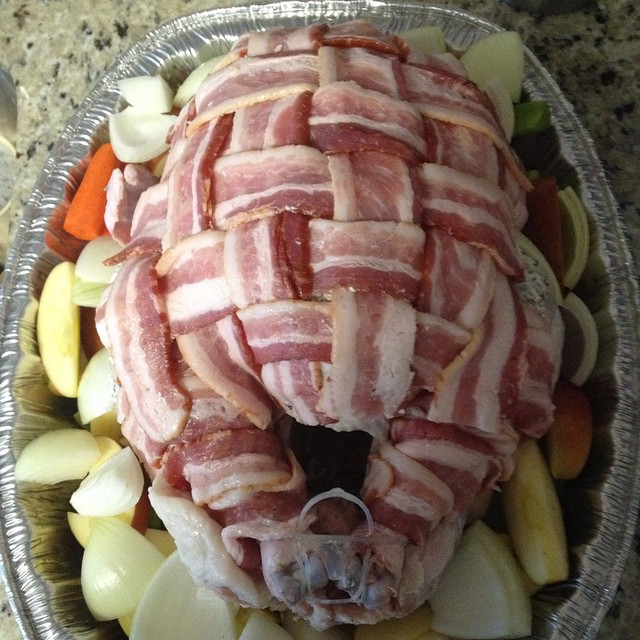 Behold! A weaved bacon jacket for our turkey. Happy Thanksgiving! #turkey #thanksgiving