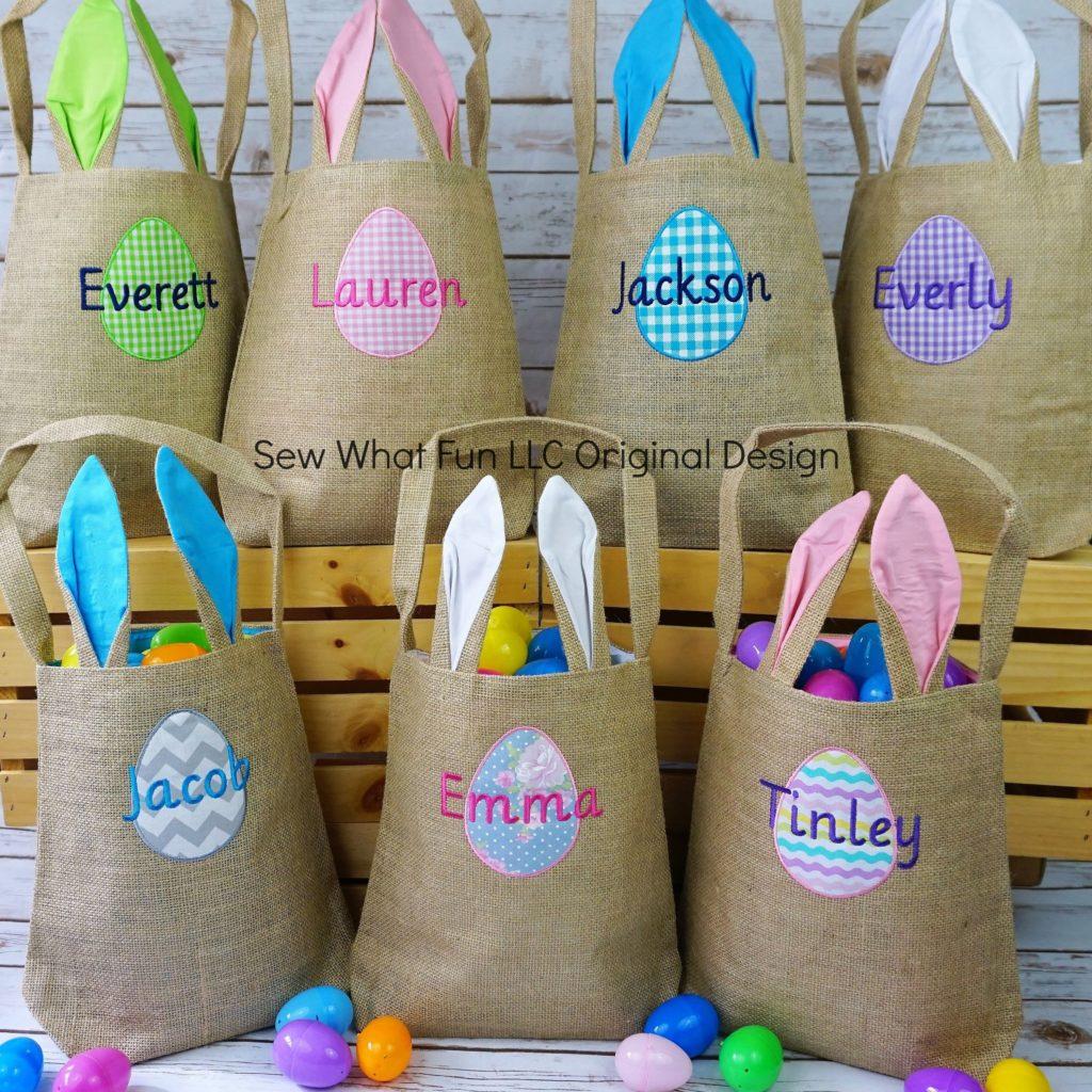 burlap Easter bunny basket