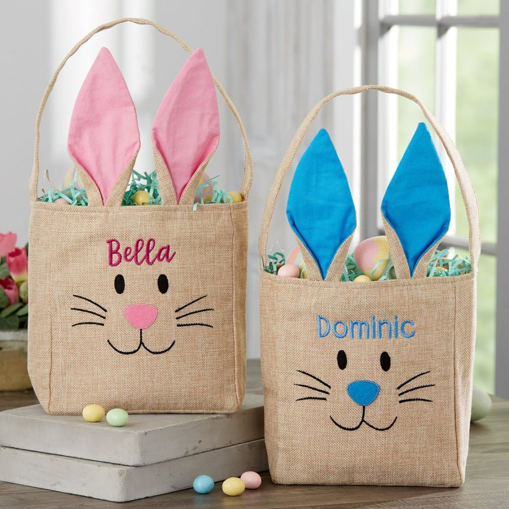 burlap easter basket with bunny ears