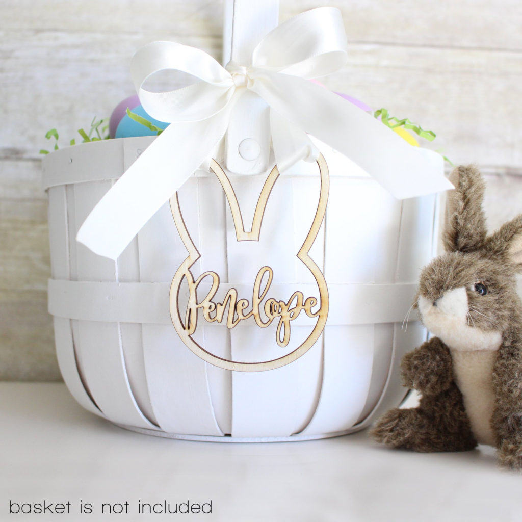 personalized rabbit ear Easter basket charm