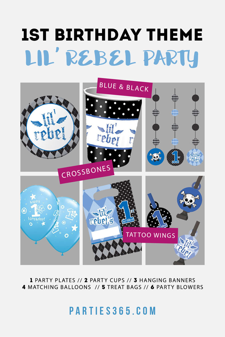 This Lil' Rebel First Birthday Party theme is super cute and unique with blues, blacks and a tattoo wing design! Check out these coordinated party supplies for your little boy's 1st birthday! #firstbirthday #partysupplies #1stbirthday