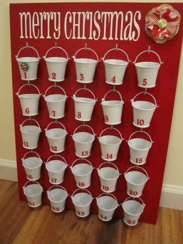 DIY advent calendar idea with buckets