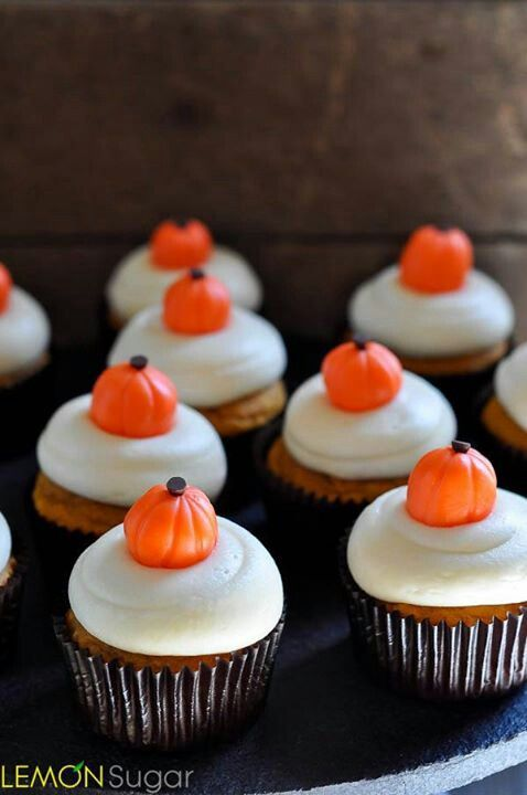 pumpkin candy on cream cheese icing Halloween cupcakes