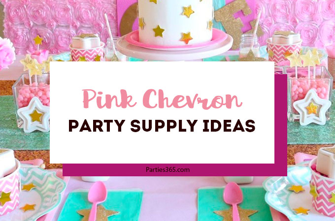 Pink is so versatile when it comes to party decorations! We've gathered up some pink chevron birthday theme ideas you've got to check out! From plates to balloons to favors, you'll find something that will work for your pinktastic party! #pinkparty #partysupplies #parties365