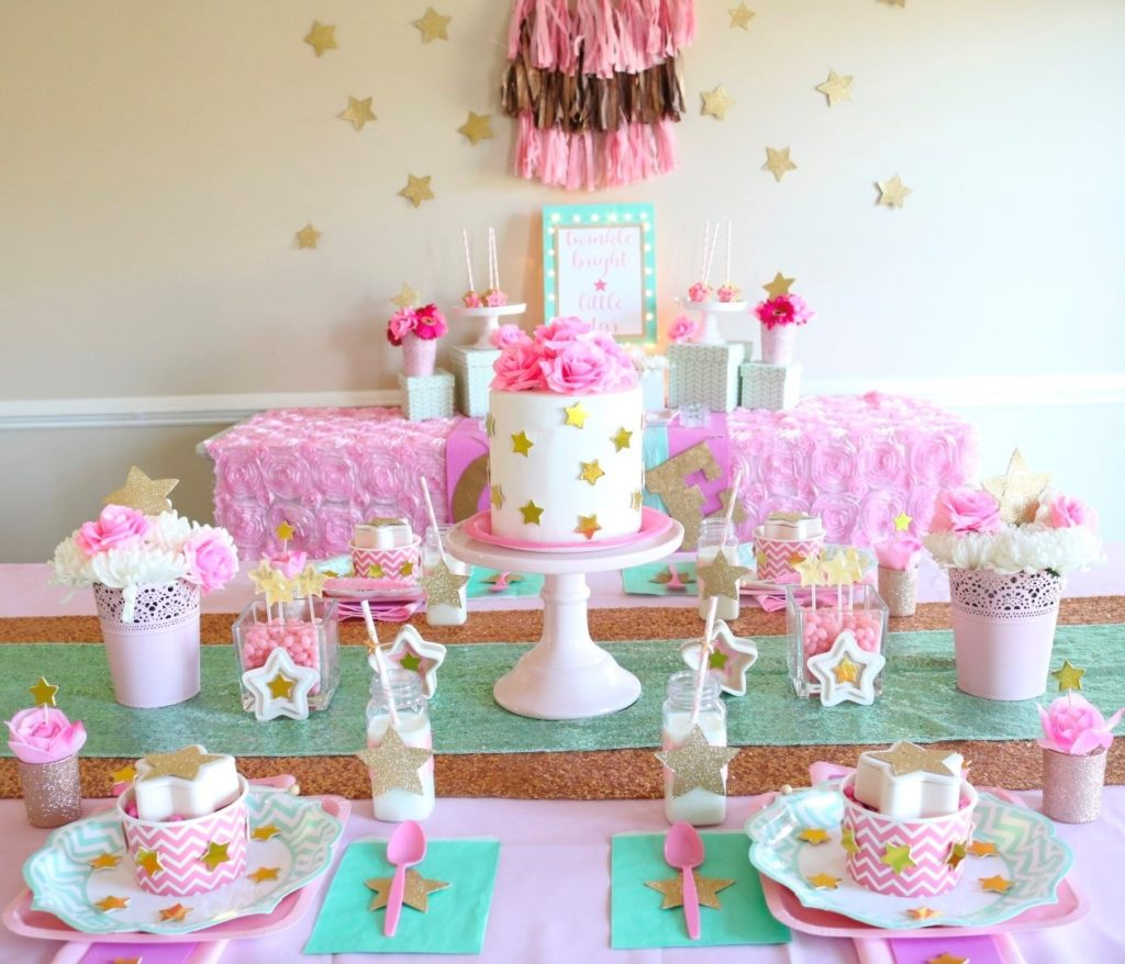pink party supplies and tableware