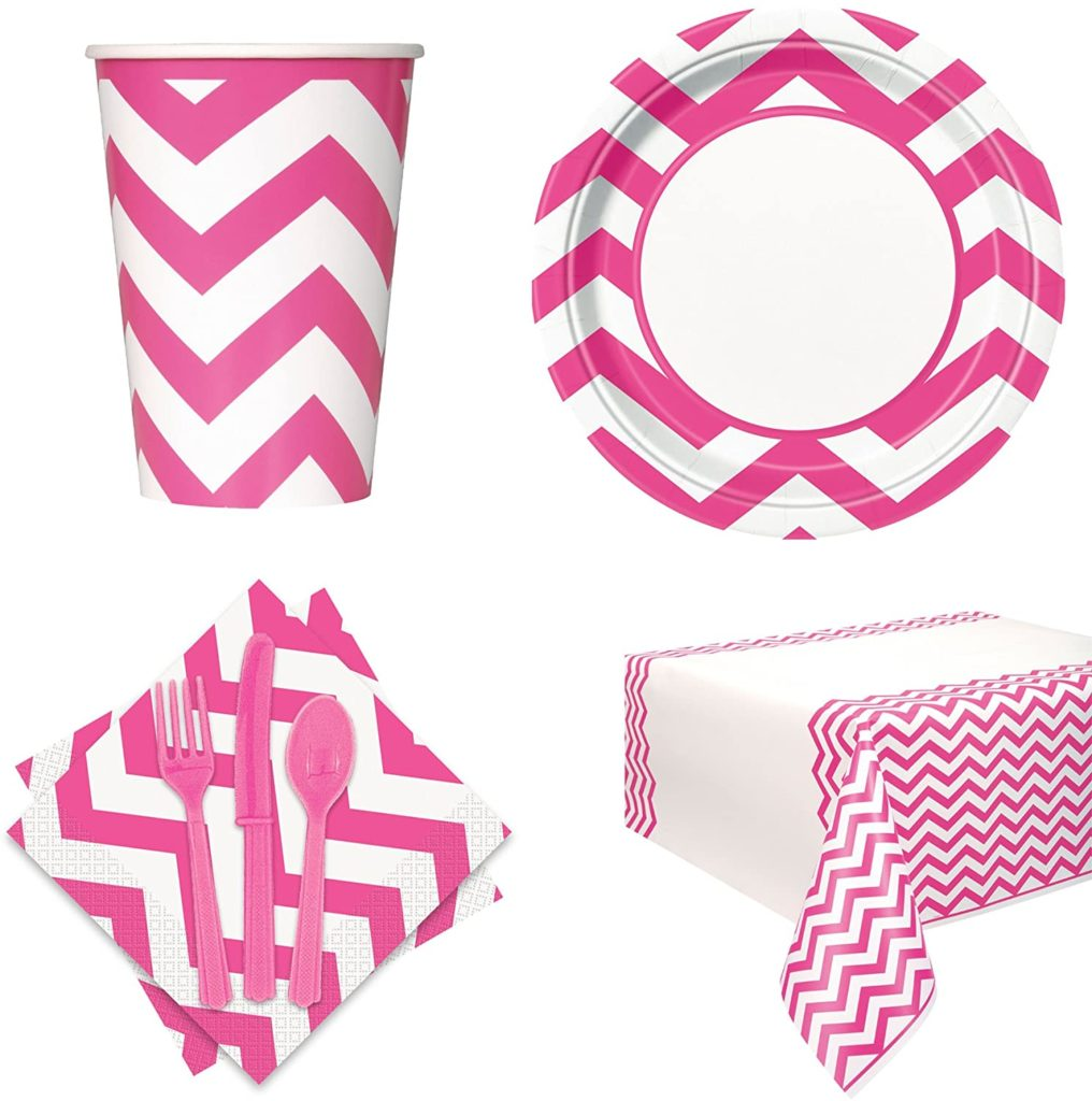 pink chevron party tableware set