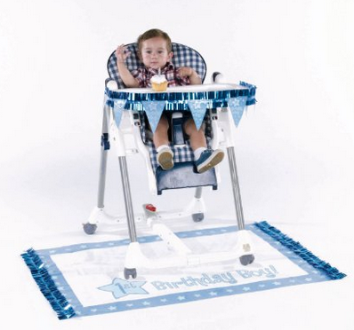 1st Birthday Party Ideas High Chair Deco blue