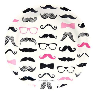 Pink Mustache Party Dinner Plates, party ideas for girls, girls birthday party ideas, mustache birthday party