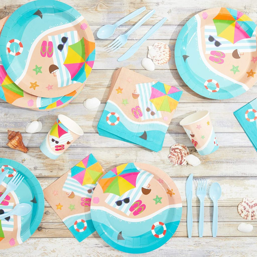 pool party tableware with beach theme