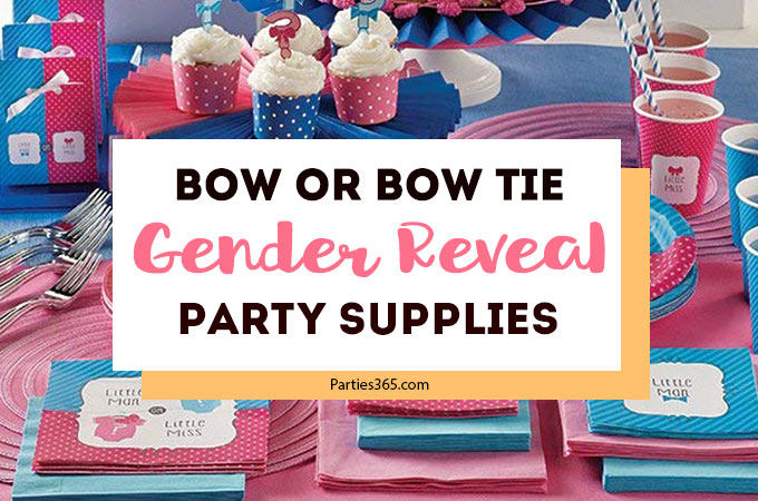 Looking for gender reveal party themes? How about a Bow or Bow Tie party? These cute Little Miss or Little Man party supplies are a fun way to share your big news! #genderreveal #babyshower #partysupplies