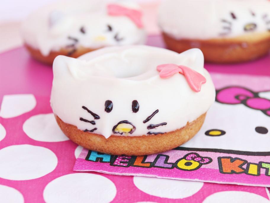 hello kitty donut on a Hello Kitty party napkin