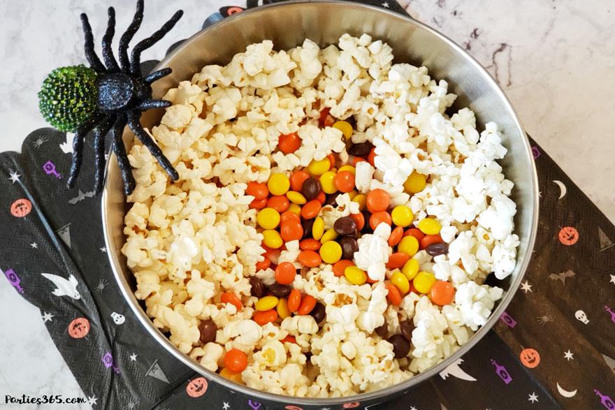 reece's pieces in halloween popcorn
