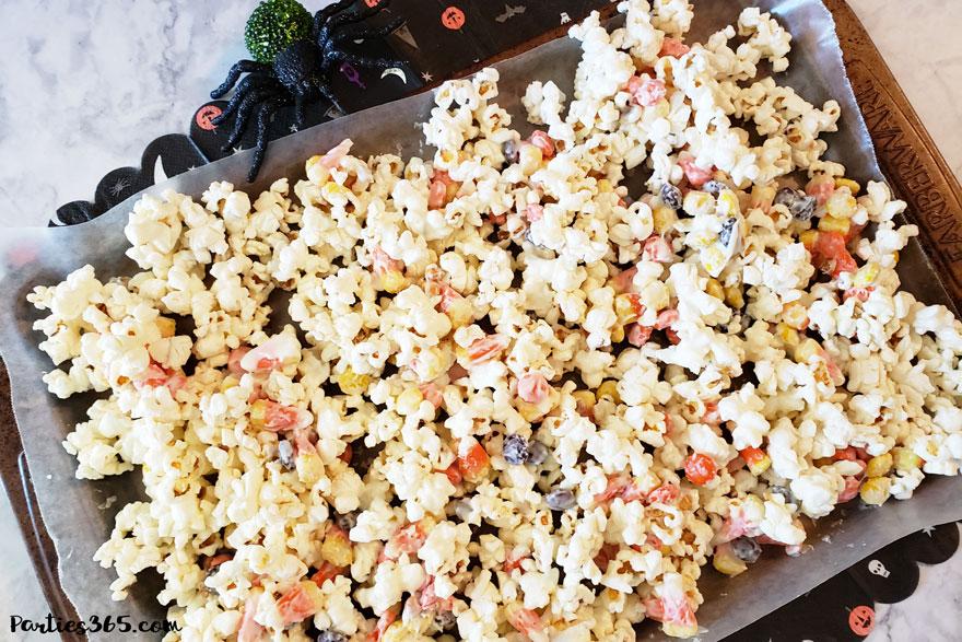 Halloween popcorn treat on baking sheet