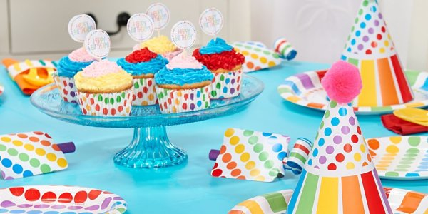 rainbow party hats and cupcake wrappers