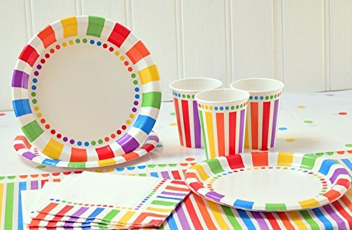 rainbow tableware for party
