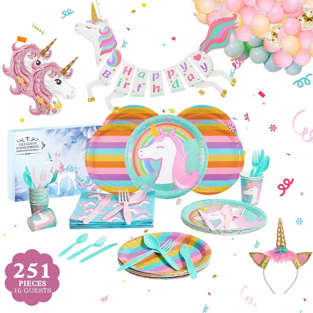 rainbow unicorn party supply set