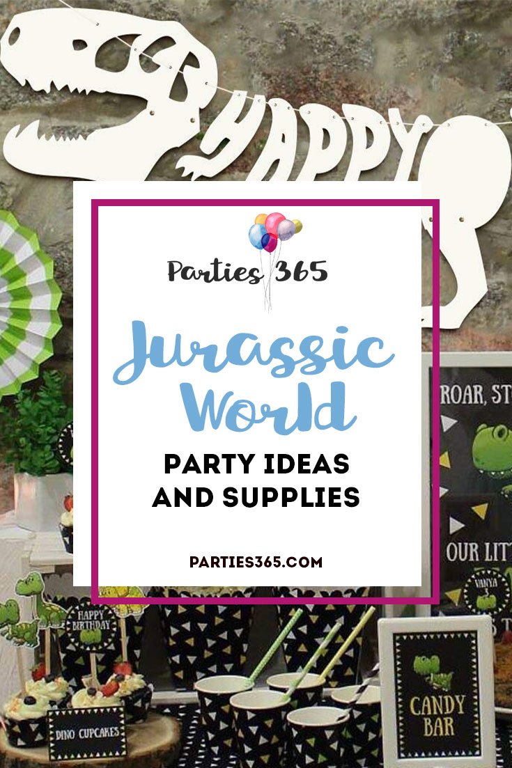 Looking for Jurassic World Party theme ideas? We've got you covered with these Dinosaur Birthday Party Decor supplies, food and suggestions! #JurassicWorld #Dinosaur #birthday #partysupplies