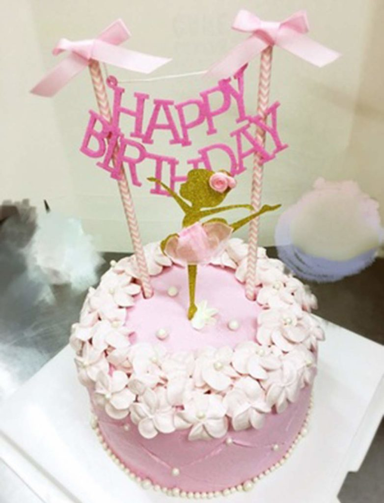 pink happy birthday dancing ballerina cake topper