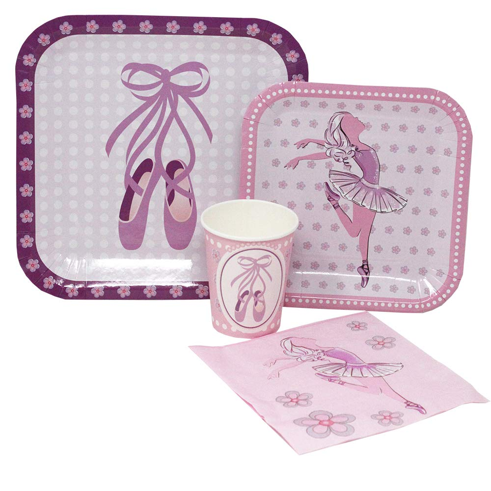 pink ballerina party tableware set