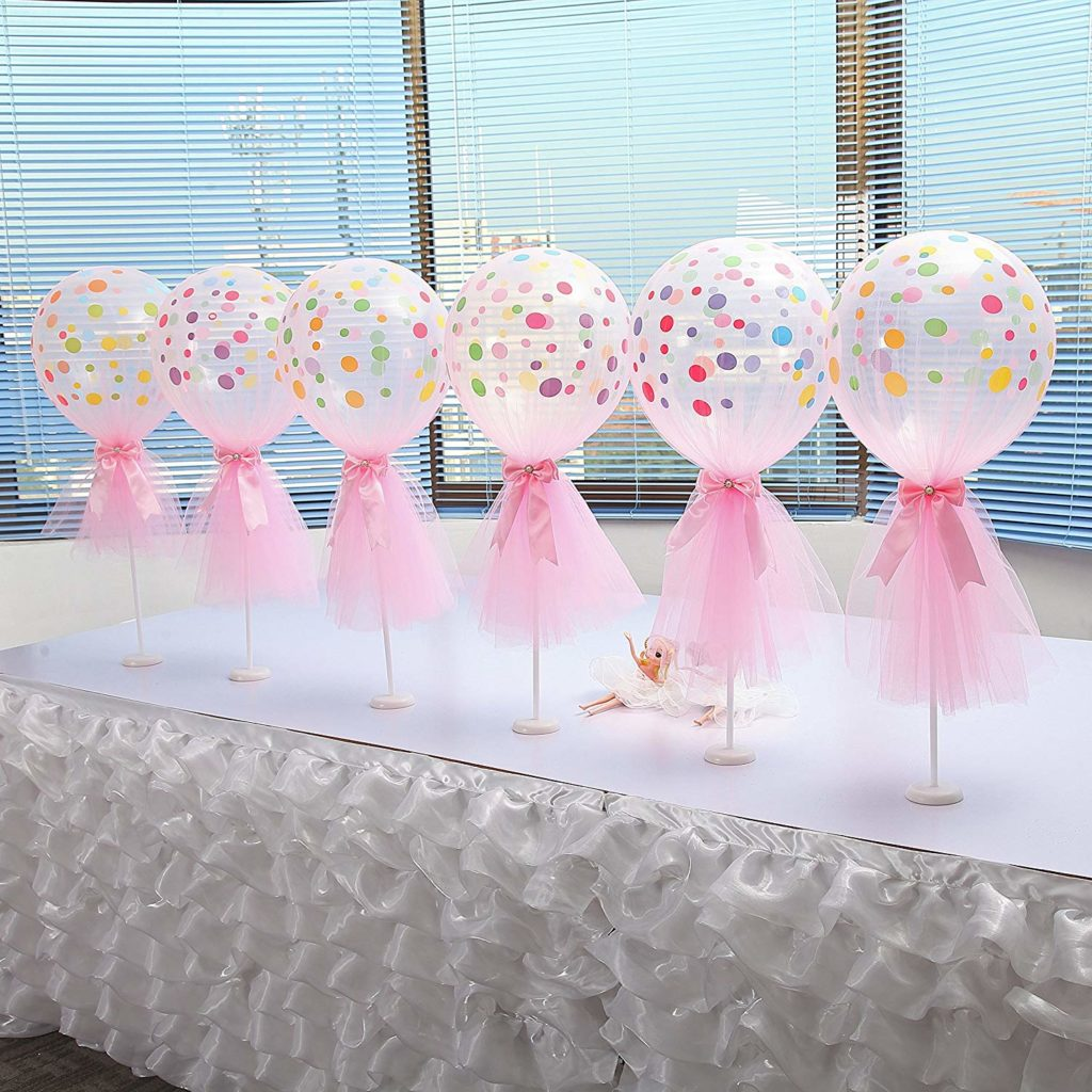 pink tulle wrapped confetti balloons at party