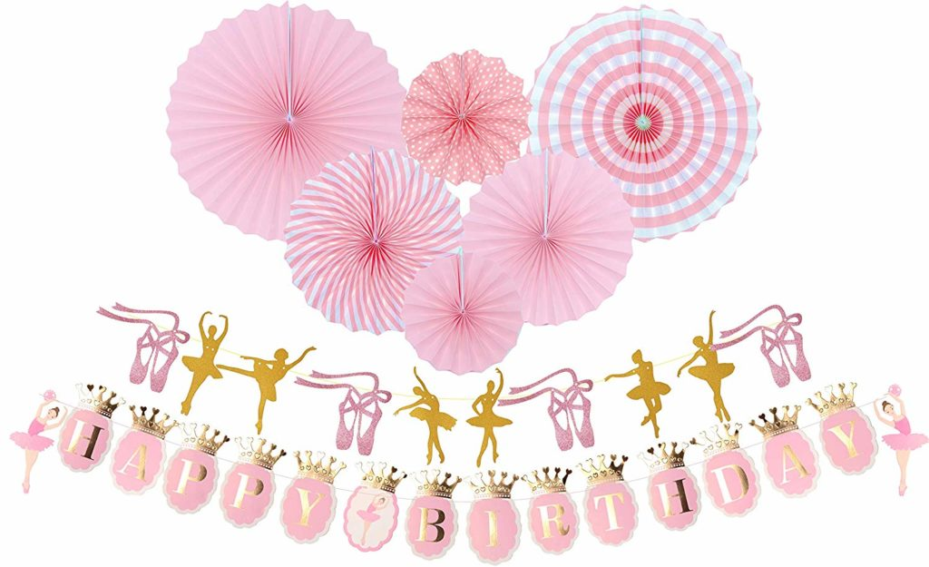 ballerina and ballet slipper happy birthday banner and pink paper fans