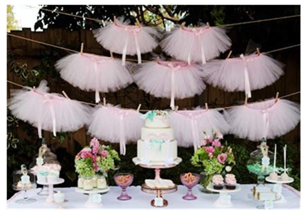 pink tulle tutu party banner and garland