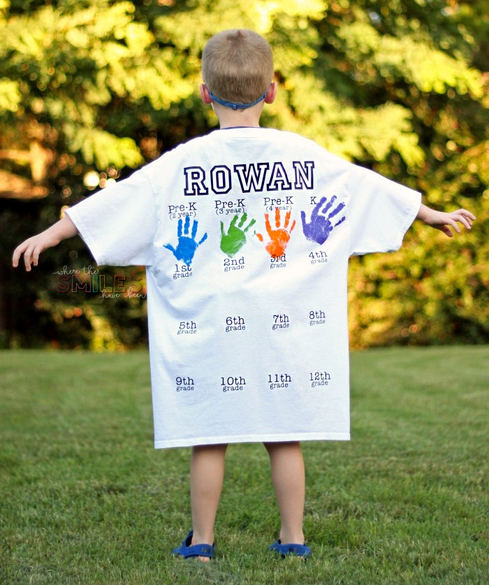 back to school shirt with handprints