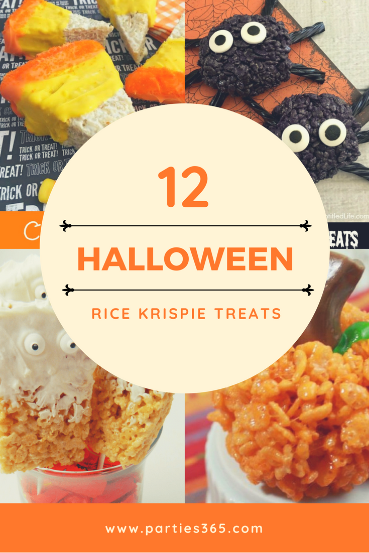 Want a fun Halloween treat or snack for your little ones? How about a spooktacular Halloween Rice Krispie Treat?! Here are 12 recipes - from spiders, to ghosts, to pumpkins - your family will love! #Halloween #halloweenrecipes #ricekrispietreats #Halloweentreat #halloweensnack