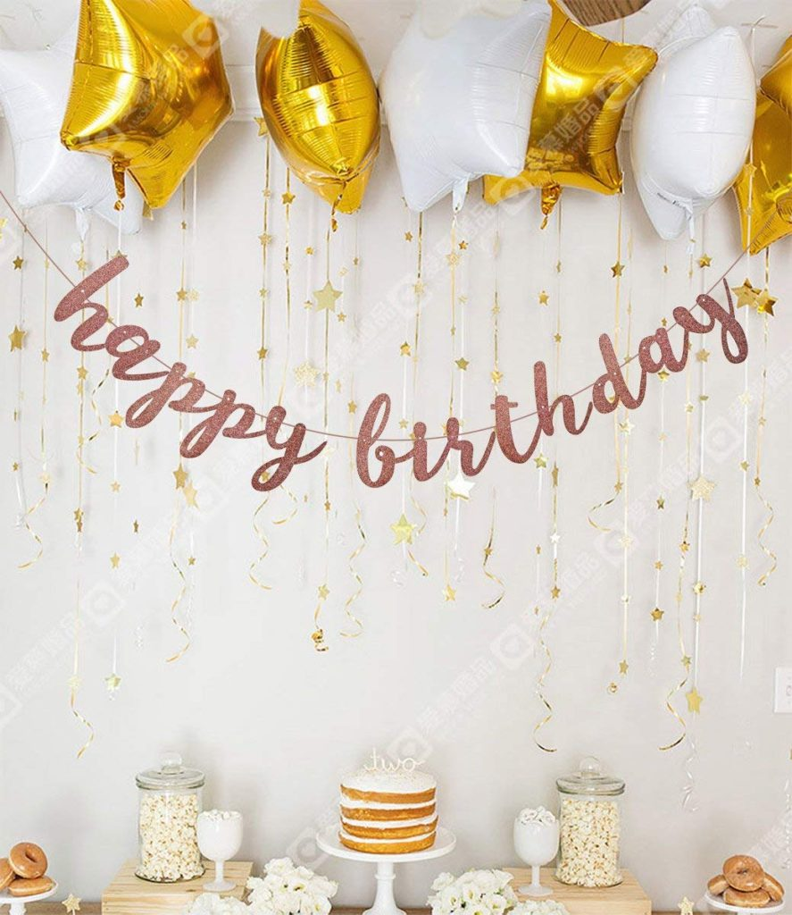 Happy Birthday rose gold glitter banner for Kids