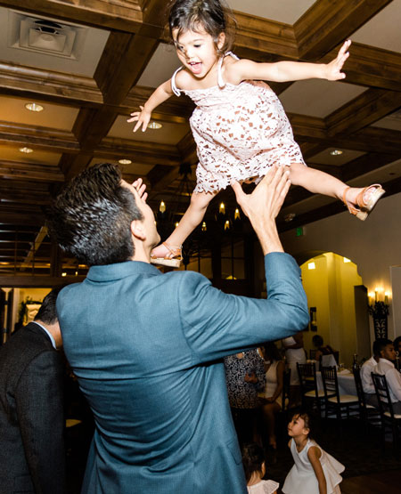 little girl dancing at birthday party