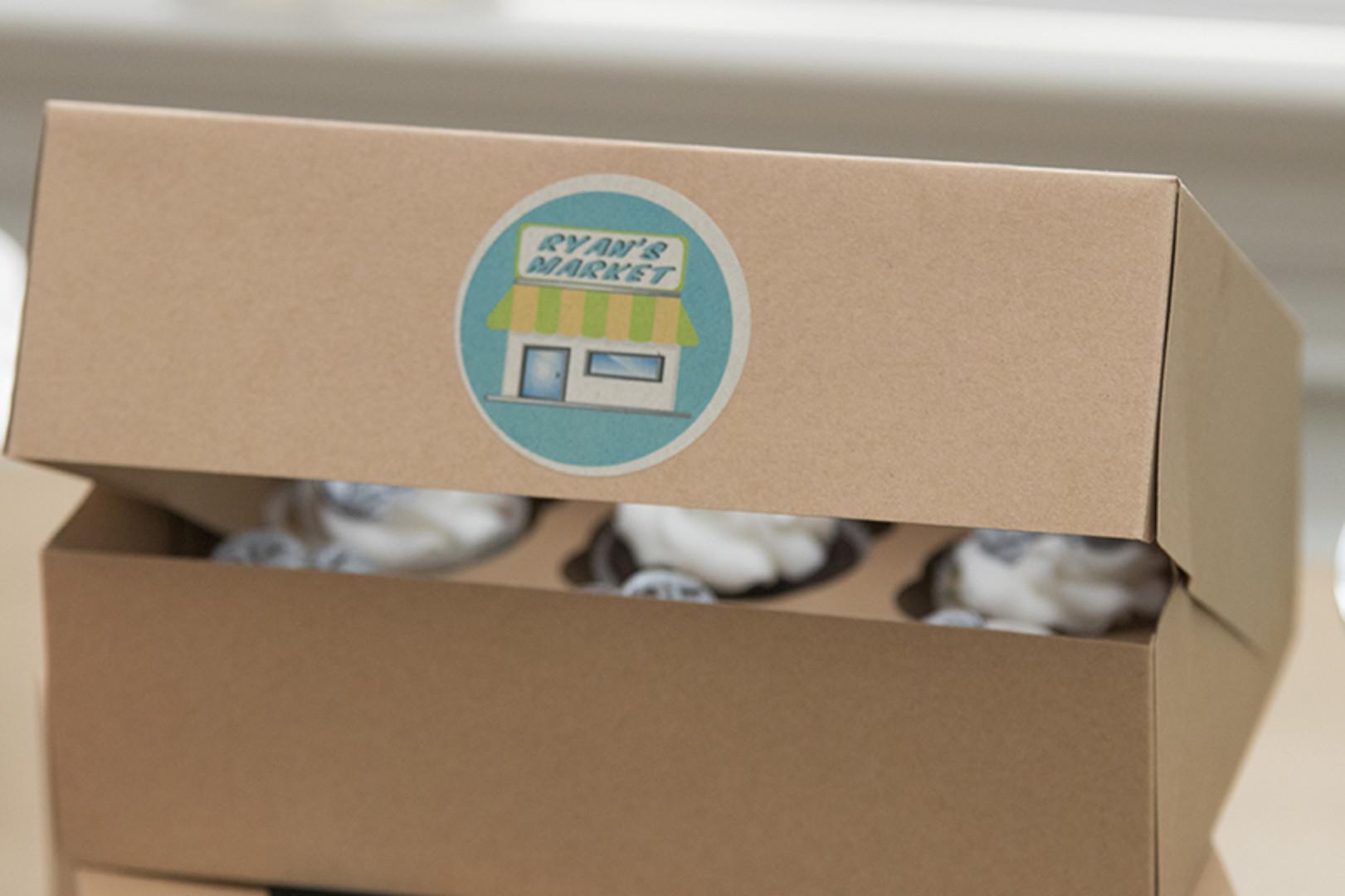 cardboard cupcake box with custom sticker