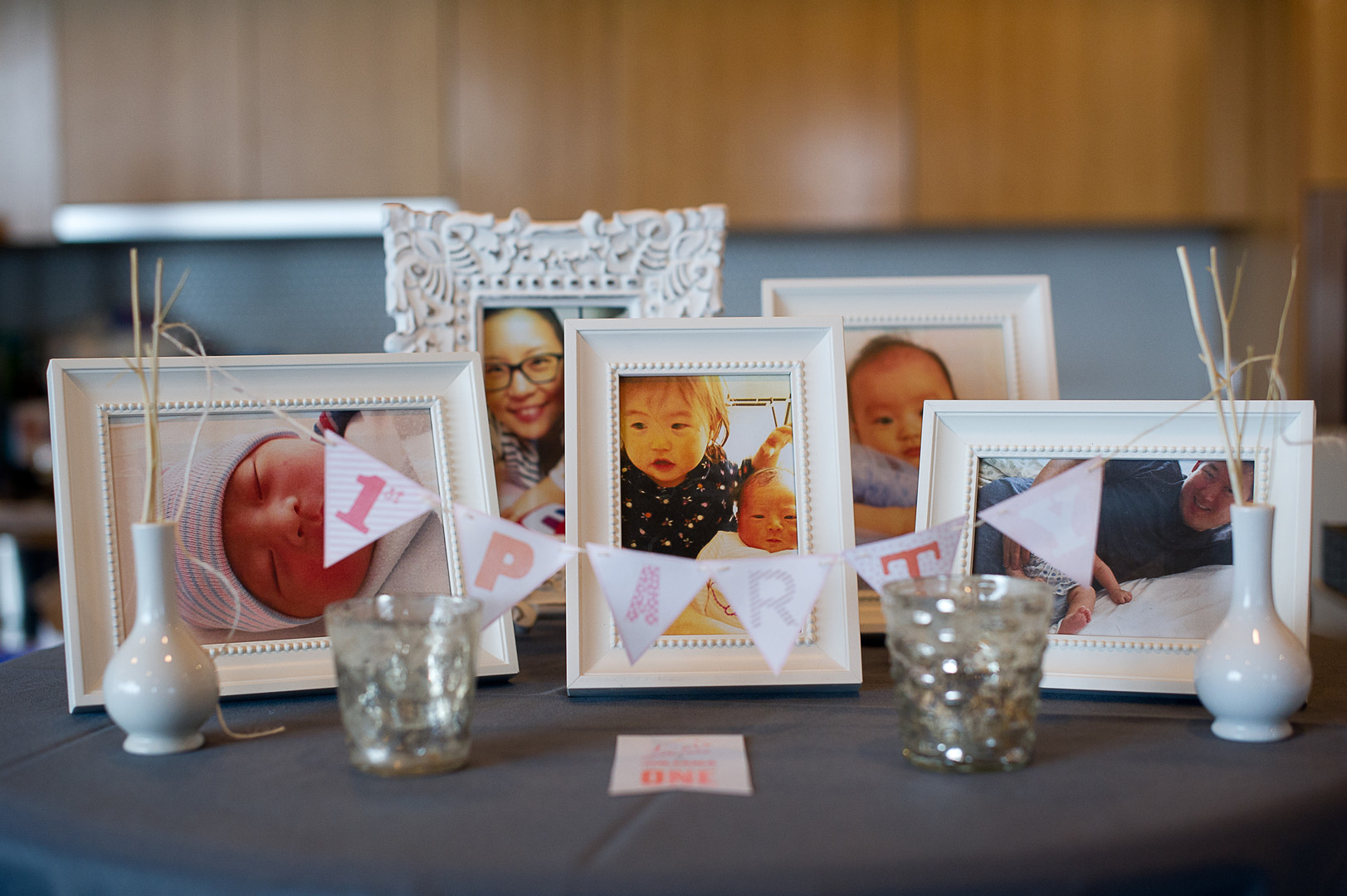first birthday photos on display