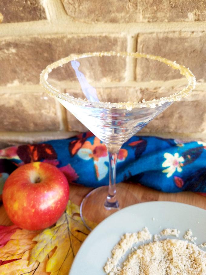 martini glass rimmed in brown sugar