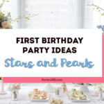 Looking for a sweet 1st Birthday Party theme for your little girl? This darling Stars and Pearls party featured pastels, shimmering pearls and floating flowers and has ideas for a cake, decorations and more! #1stBirthday #FirstBirthday #PartyTheme #Birthday #birthdaycake