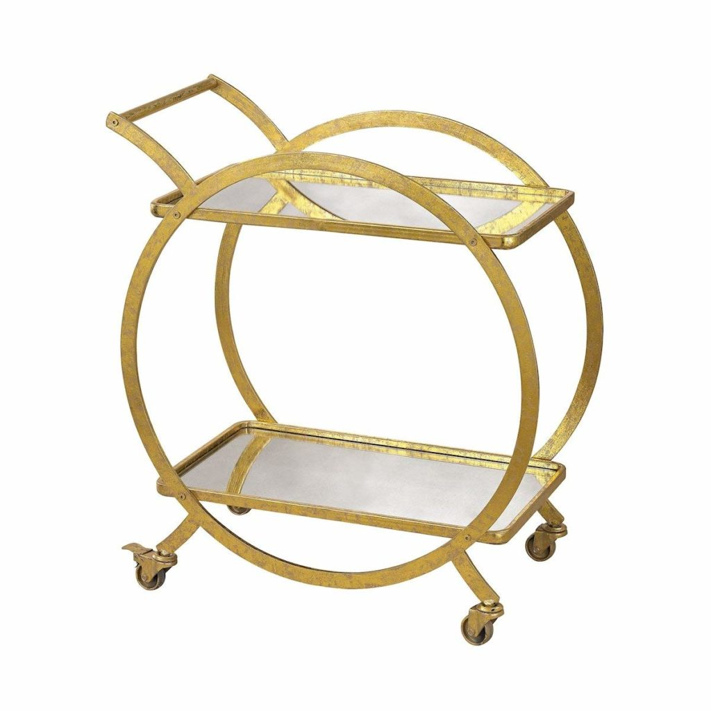art deco gold and mirror bar cart