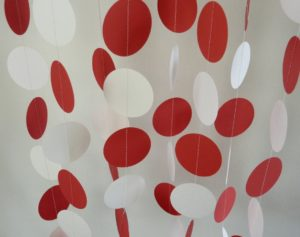 red and white polka dot paper garland