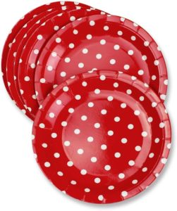 red polka dot party plates