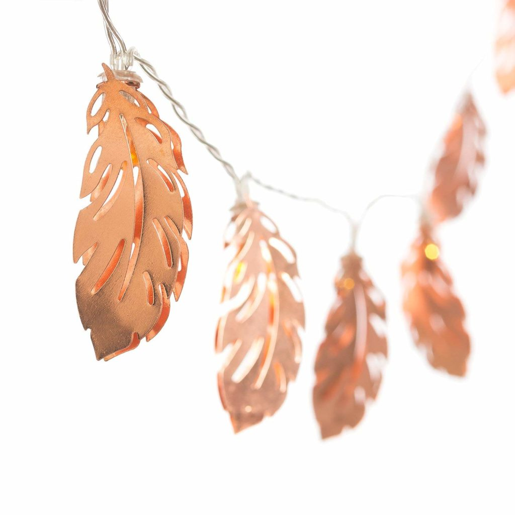 rose gold feather string lights
