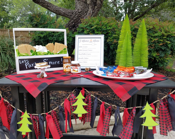 buffalo plaid smores bar table setup