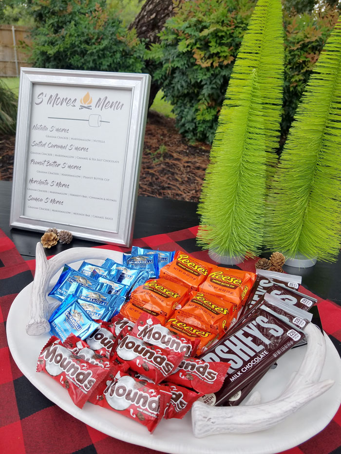 printable smores menu and tray of candy for s'mores station
