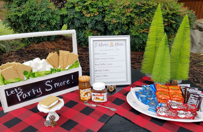 let's party smore make your own smores bar table decor