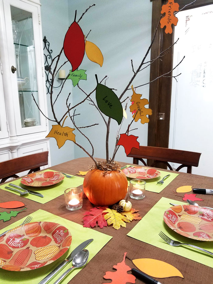 thanksgiving kids table gratitude tree centerpiece