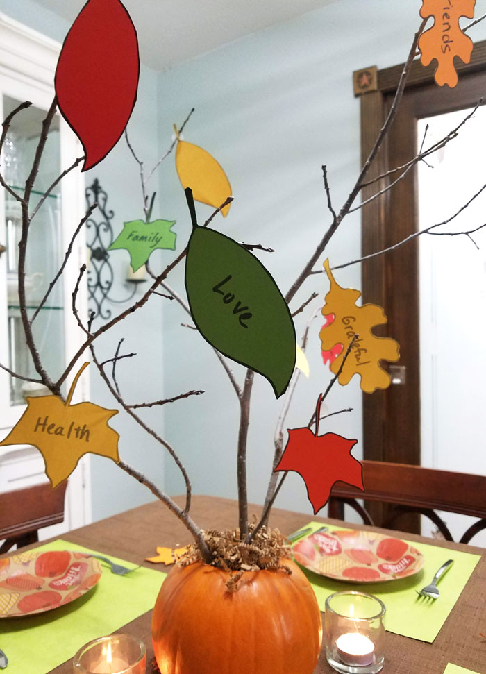 Thanksgiving centerpiece gratitude tree with fall leaves