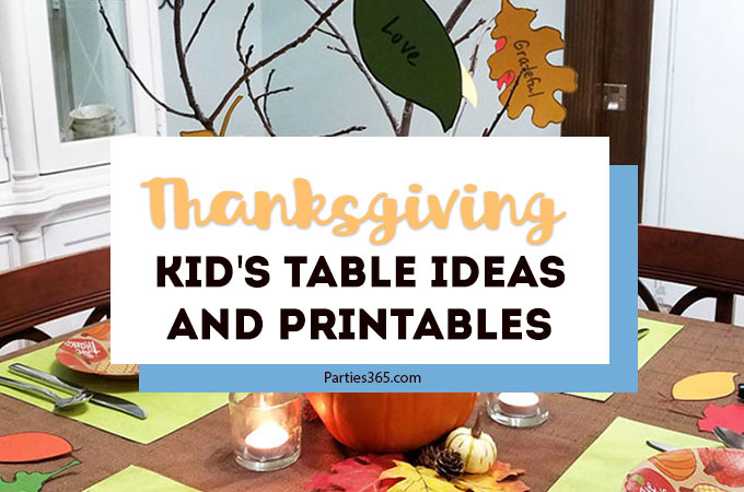 Want to set a fun Thanksgiving kids table with an easy centerpiece and a free printable coloring turkey placemat? We've made it easy with these table setting ideas, decorations and centerpiece decorated with thankful fall leaf printables! Click to see the details! #Thanksgiving #thanksgivingtable #parties365