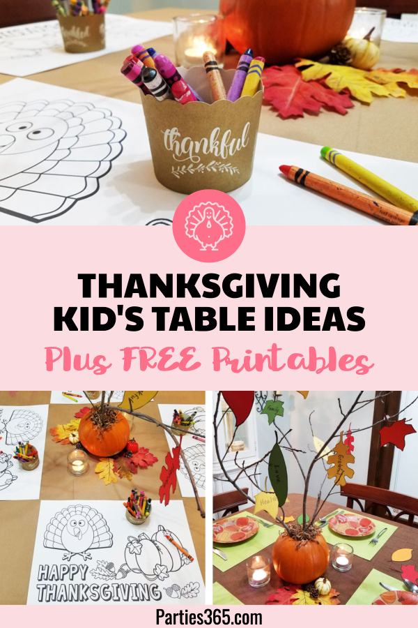 Thanksgiving kids table ideas with free printable placemat