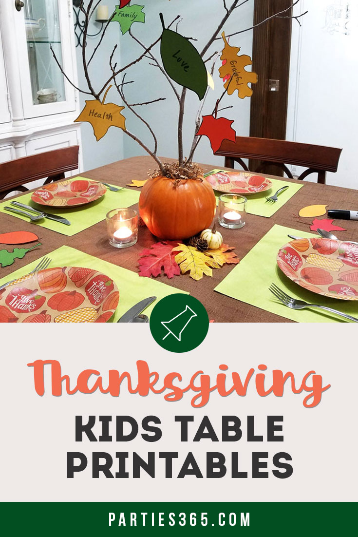 Thanksgiving kids table ideas and printables