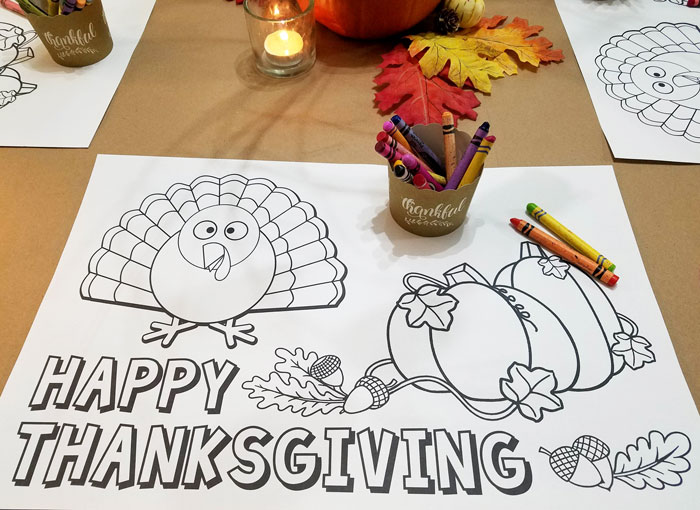 printable Thanksgiving coloring placemat with turkey