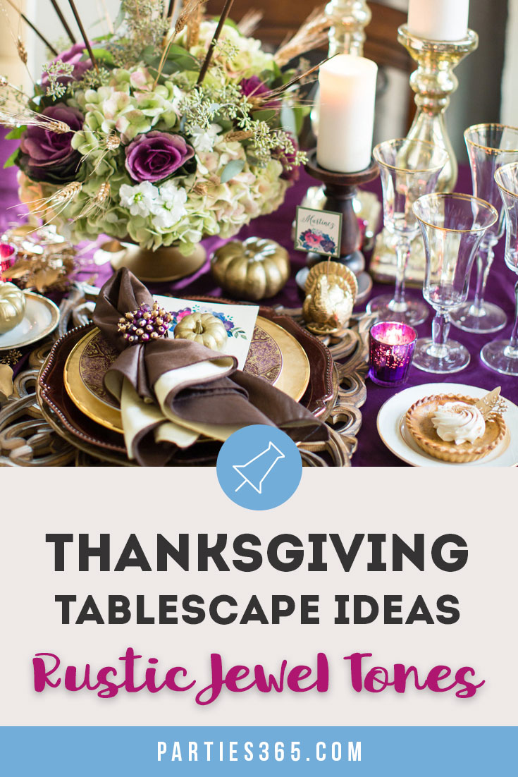 thanksgiving tablescape ideas in rustic jewel tones