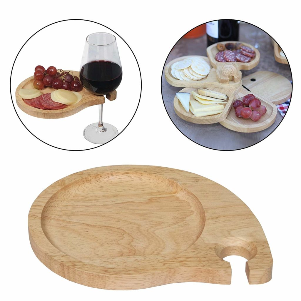 wooden wine glass holder cocktail plates