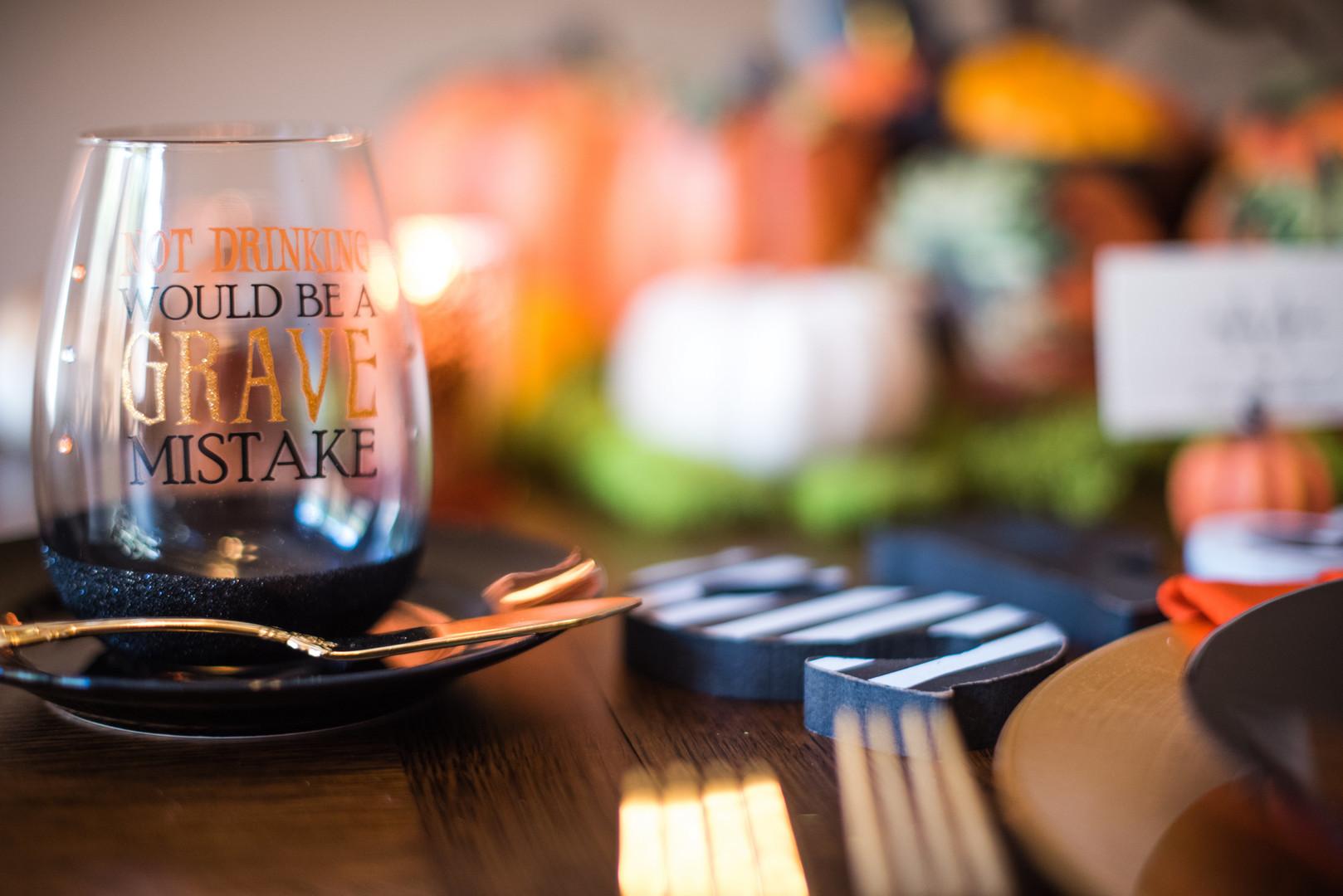 halloween wine glass on table